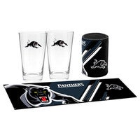 Penrith Panthers NRL Bar Essentials Pack Bar Runner Mat 2x Glasses Can Cooler