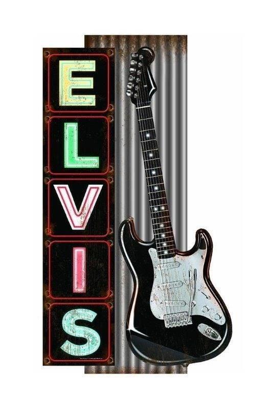 Elvis Presley Large Rustic Metal Man Cave Bar Wall Sign Guitar