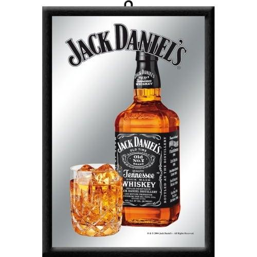 Jack Daniels Bottle Design Framed Mirror Wall Bar Sign