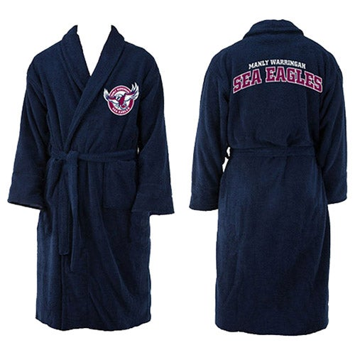 Manly Warringah Sea Eagles NRL Youth Kids Dressing Gown Robe Size 10-12