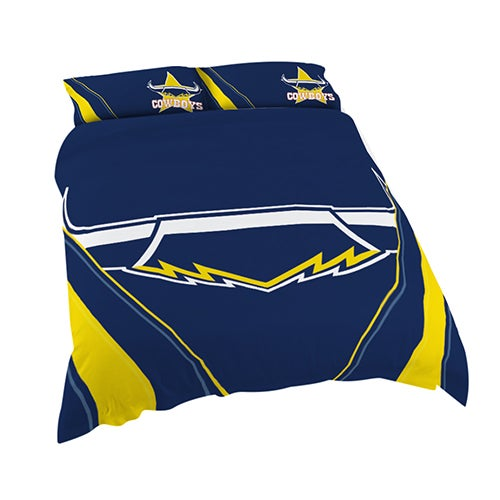 North QLD Queensland Cowboys NRL DOUBLE Bed Quilt Doona Duvet Cover & Pillow Cases Set NEW