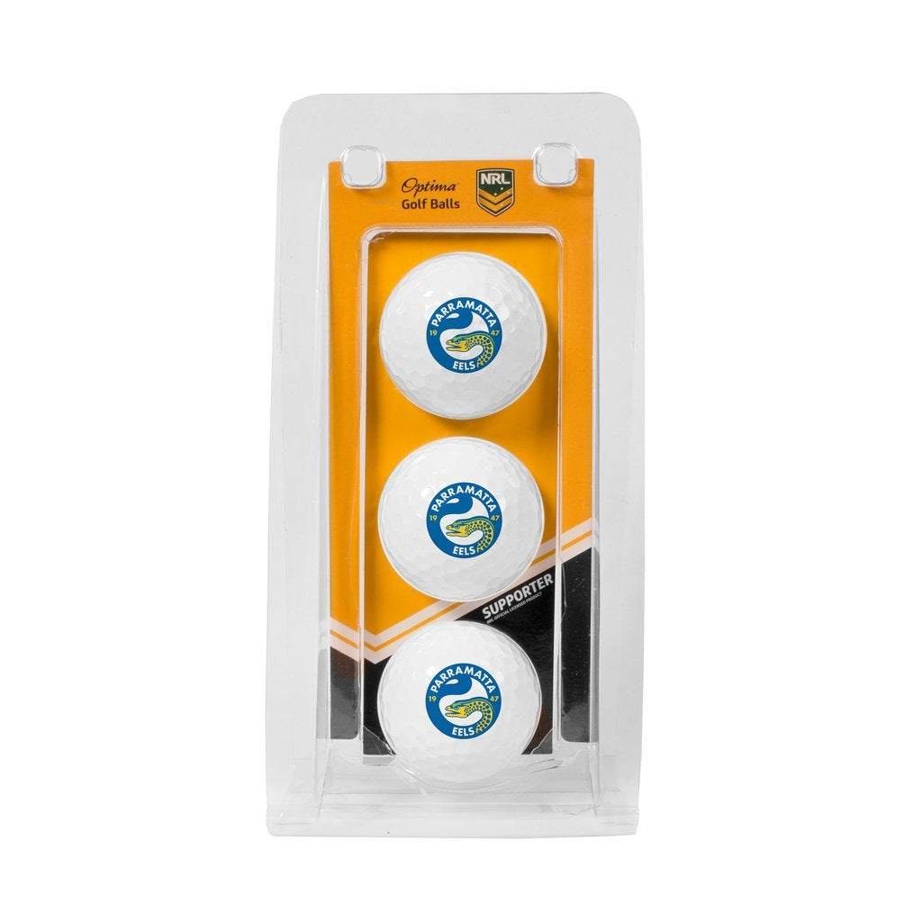 Parramatta Eels NRL Team Optima Golf Balls 3 Pack