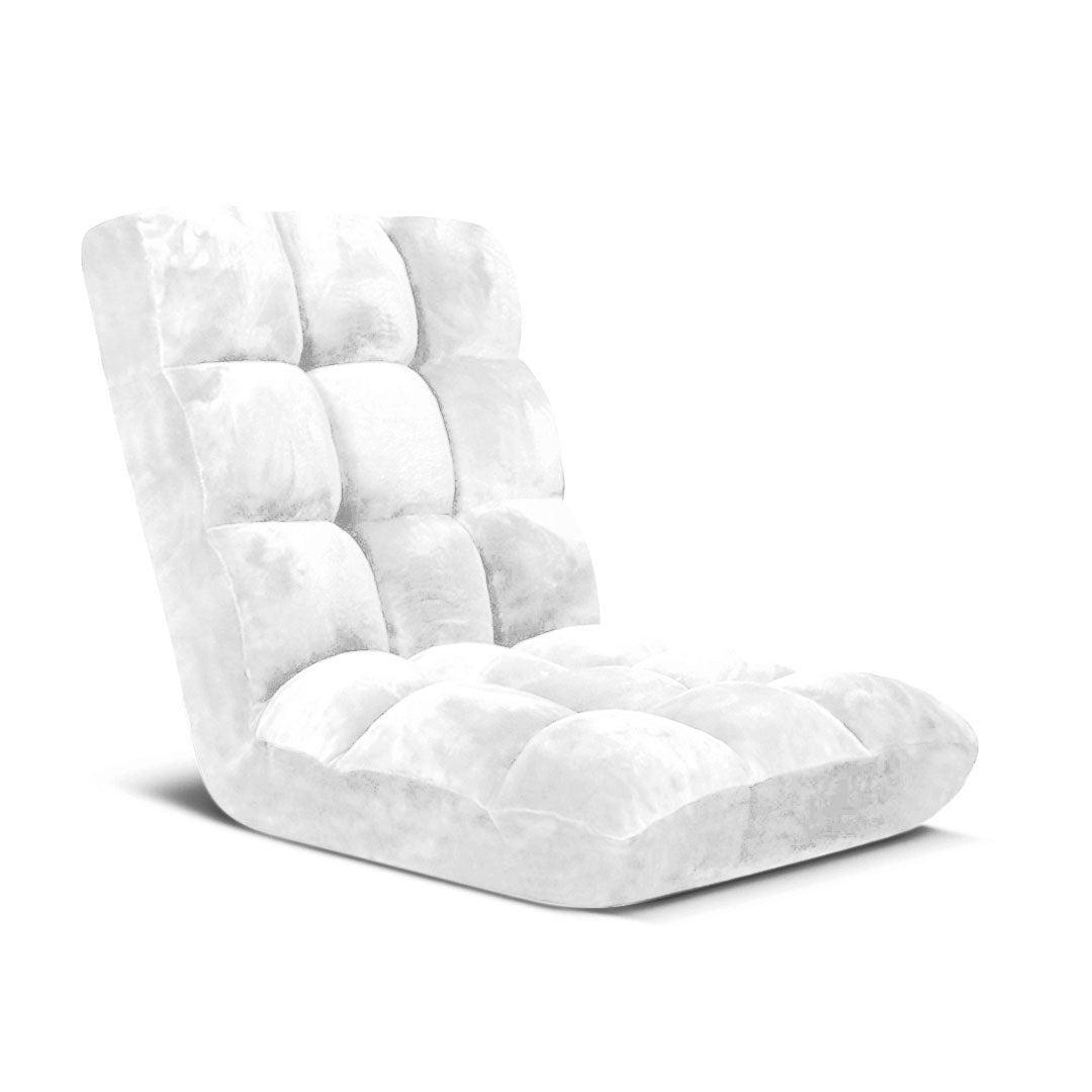 SOGA Floor Recliner Folding Lounge Sofa Futon Couch Folding Chair Cushion White