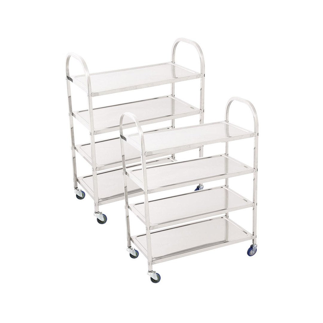 SOGA 2X 4 Tier Stainless Steel Kitchen Dinning Food Cart Trolley Utility Size Square Large