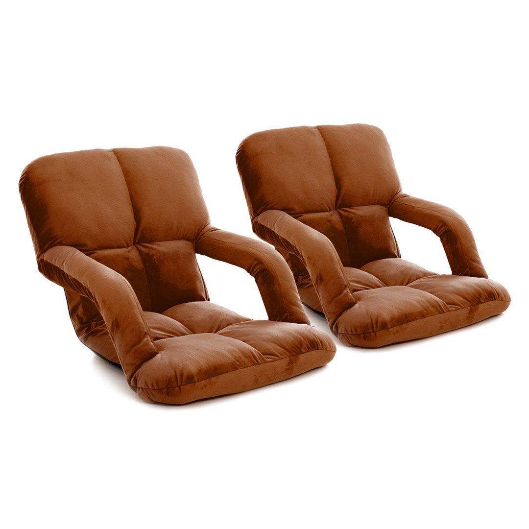 SOGA 2X Foldable Lounge Cushion Adjustable Floor Lazy Recliner Chair with Armrest Coffee