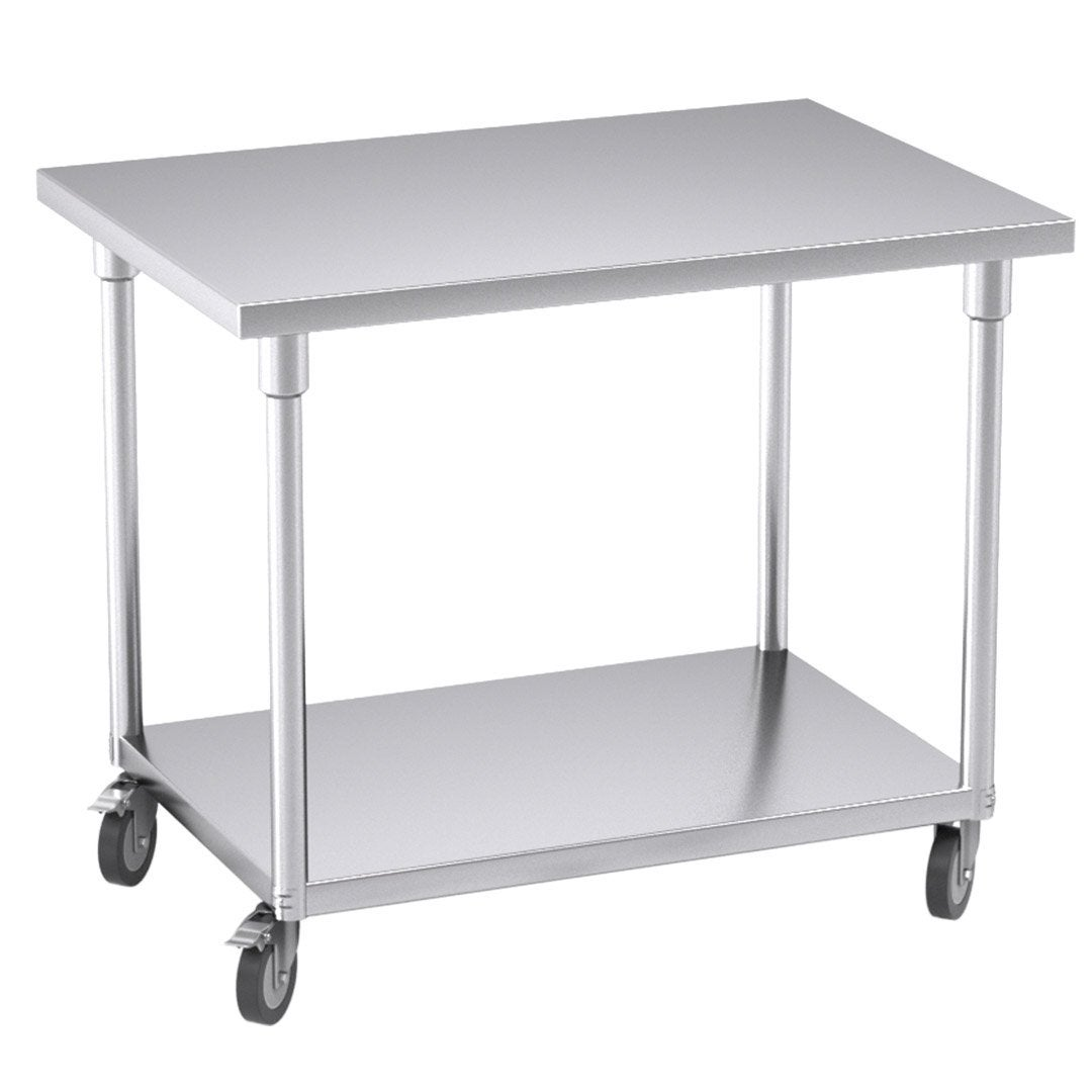 SOGA 100cm Commercial Catering Kitchen Stainless Steel Prep Work Bench Table with Wheels