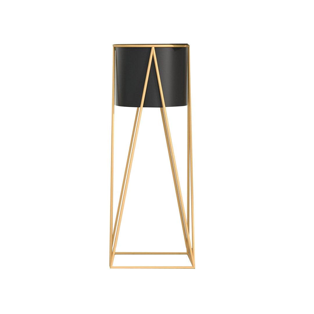 SOGA 70cm Gold Metal Plant Stand with Black Flower Pot Holder Corner Shelving Rack Indoor Display
