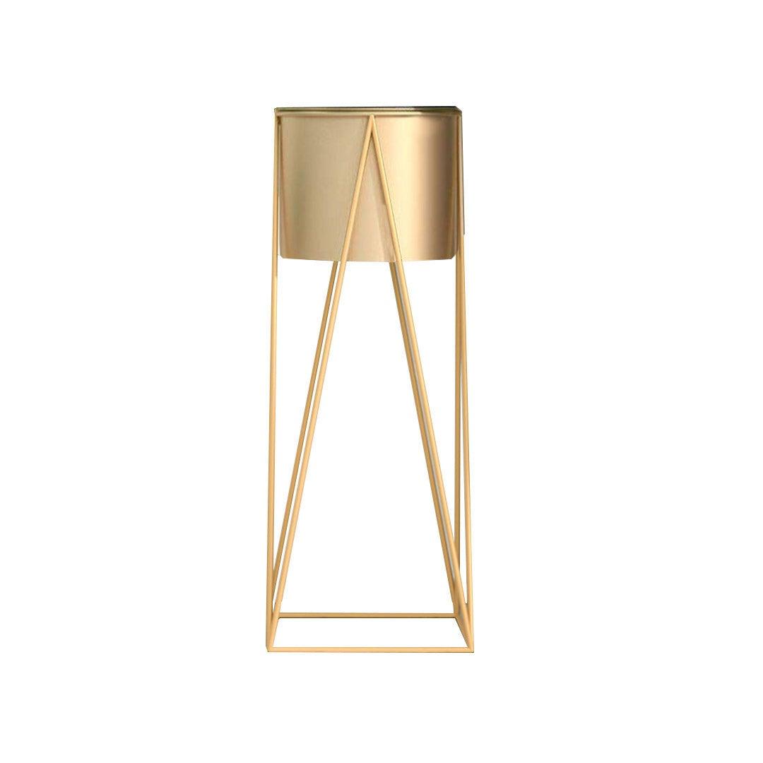 SOGA 70cm Gold Metal Plant Stand with Gold Flower Pot Holder Corner Shelving Rack Indoor Display