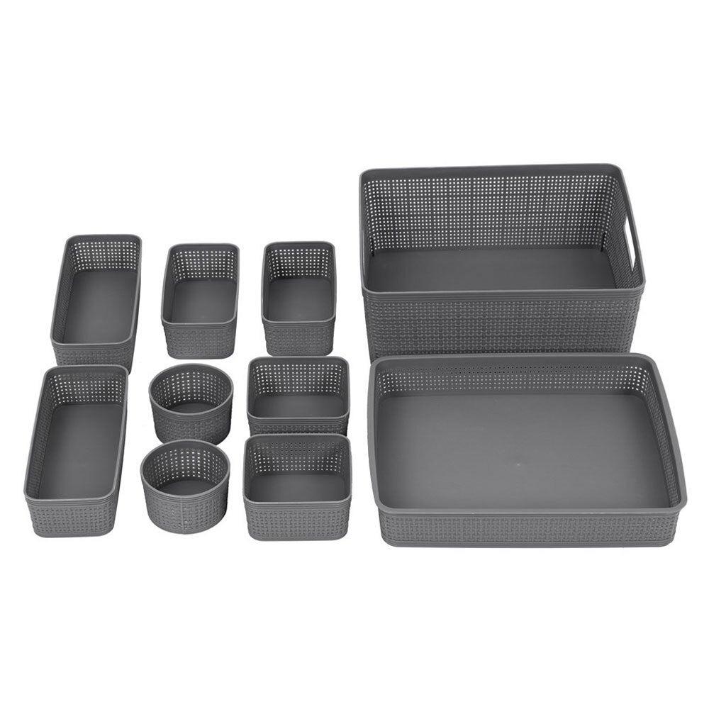 10pc Box Sweden Ivy Weave Basket Home Organisation Set Storage Container Assort.
