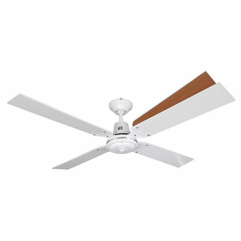 Heller Wesley Air Cooling Ceiling Fan 1200mm 4 Blade Reversible White Cherrywood Buy Ceiling Fans 9312737094995