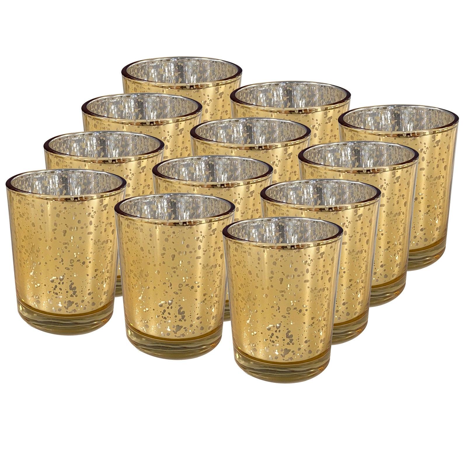 12pc Glass Tea Light Candle/Bomboniere Votive Round Holders Home Decor Gold
