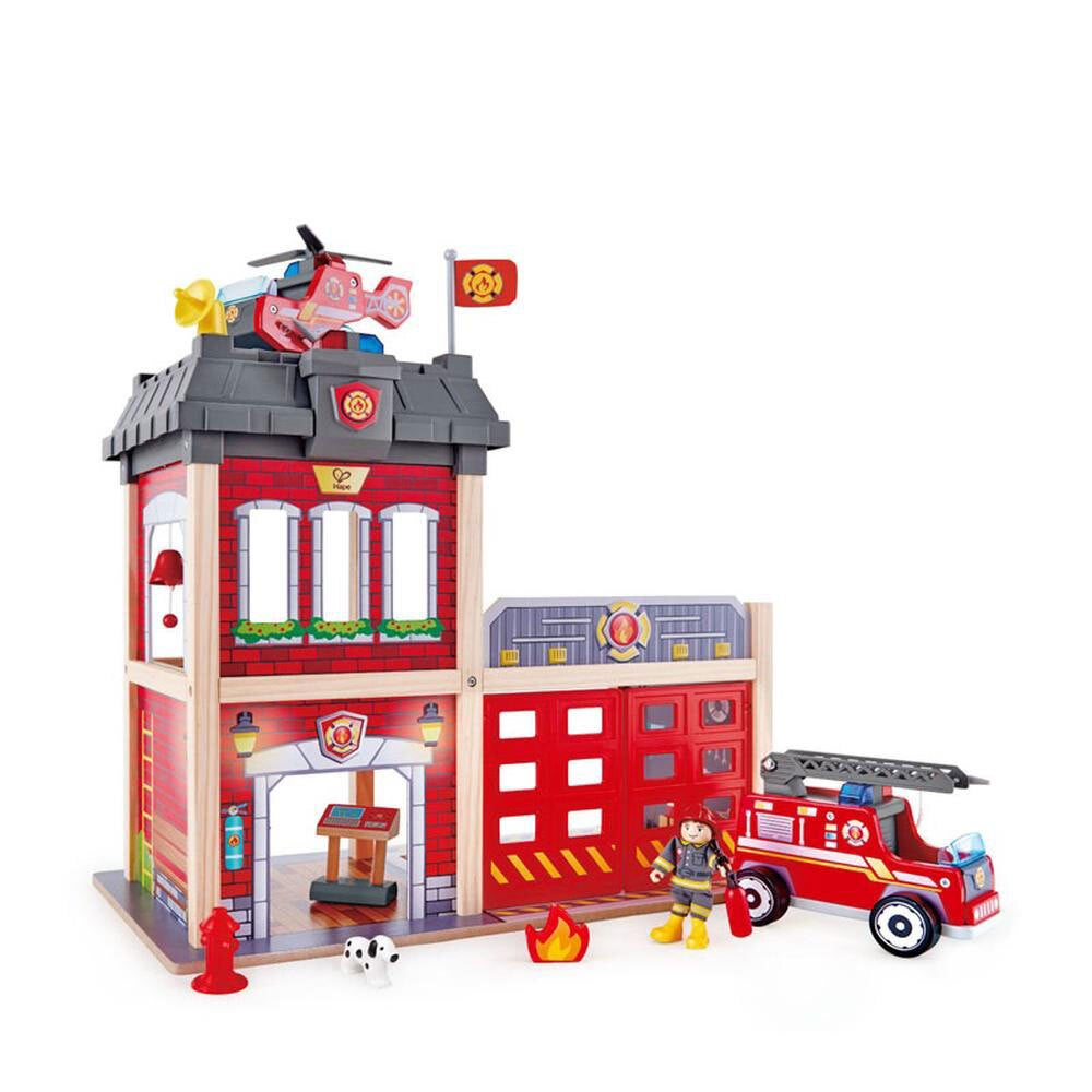13pc Hape 60cm City Fire Station Kids 3y+ Wooden Toy w/Fire Fighter/Dog Figures
