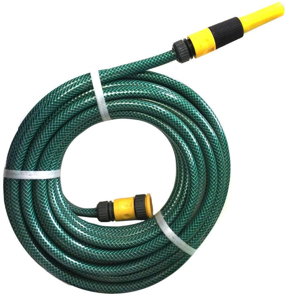 "15m x 1/2"" Fitted Water Garden Hose Pipe Gardening Watering Spray Green"