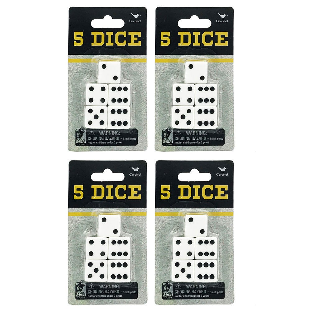 20pc Cardinal Classic Dice Pack/Set f/ Board/Table Games/Play/Roll Black/White