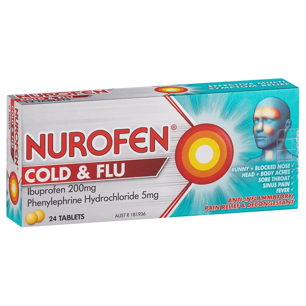 24pc Nurofen Cold & Flu Ibuprofen 200mg/Phenylephrine Hydrochloride 5mg Tablets
