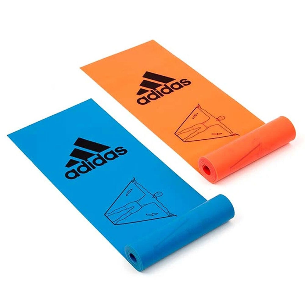 2pc Adidas Training Bands Latex Gym Fitness Strength Workout Exercise Orange/BL