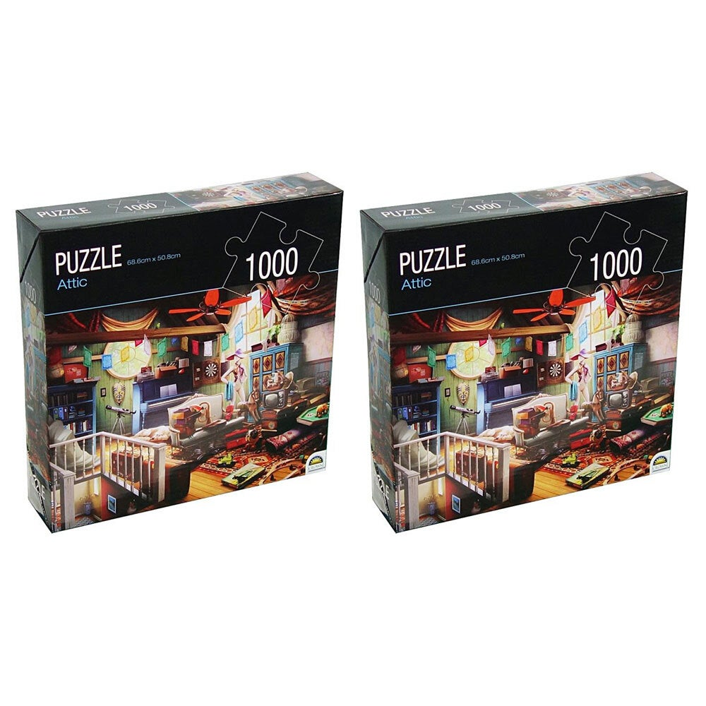 2PK 1000pc Crown Huntington Green Series Attic 68.6cm Jigsaw Puzzle Toy 15y+