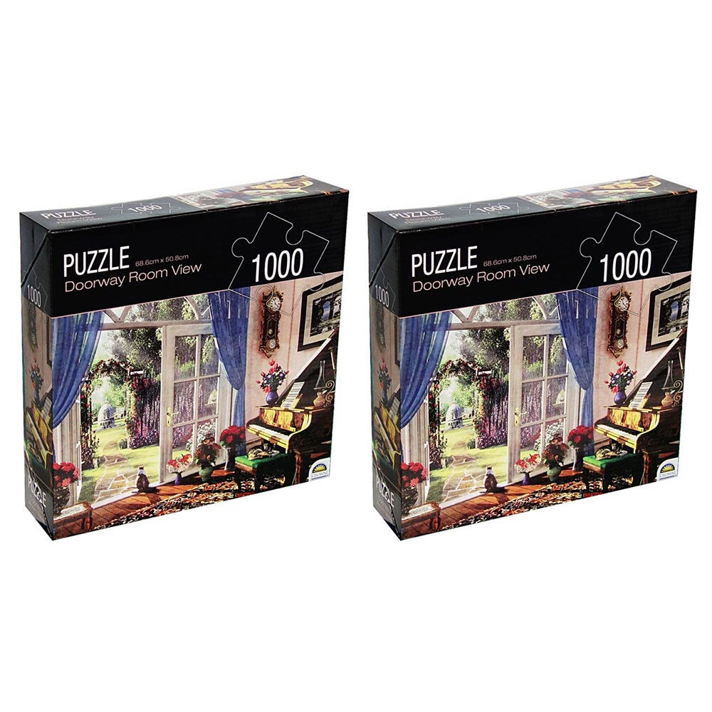 2x 1000pc Crown Huntington Green Series Doorway Room 68.6cm Jigsaw Puzzle Toy