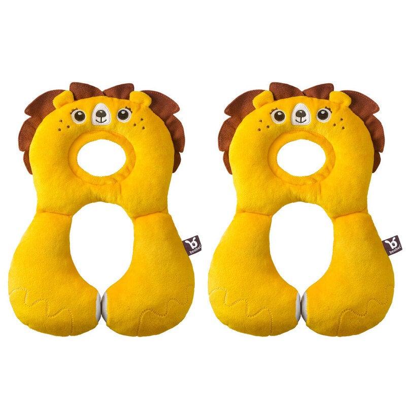 2x Benbat Total Support Headrest Head/Neck Rest Travel Baby 1-4y Car Pillow Lion