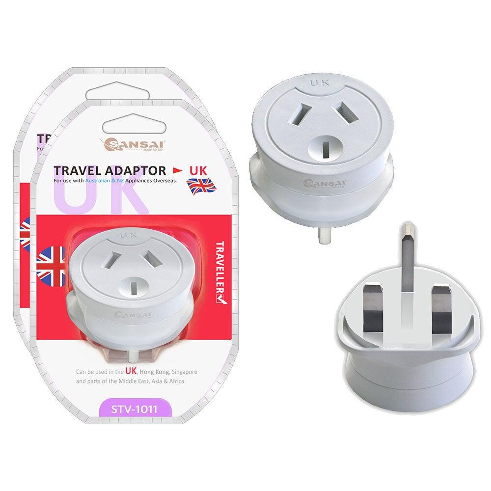 2PK Sansai Travel Power Adapter AU/NZ Socket to UK/England/Hong Kong Plug Outlet