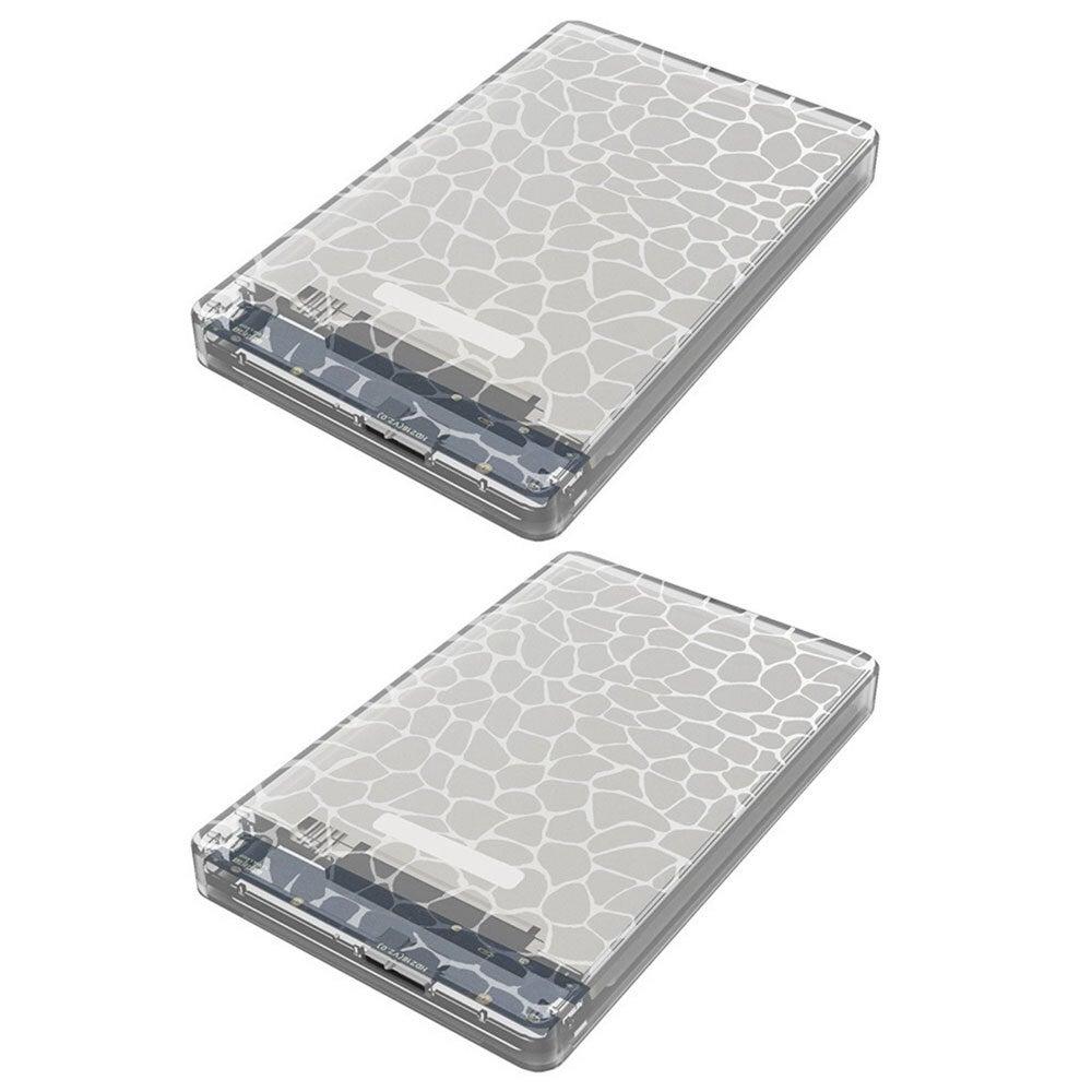 "2x Cruxtec SATA to USB 3.0 2.5"" HDD/SSD External Case Hard Drive Enclosure Clear"