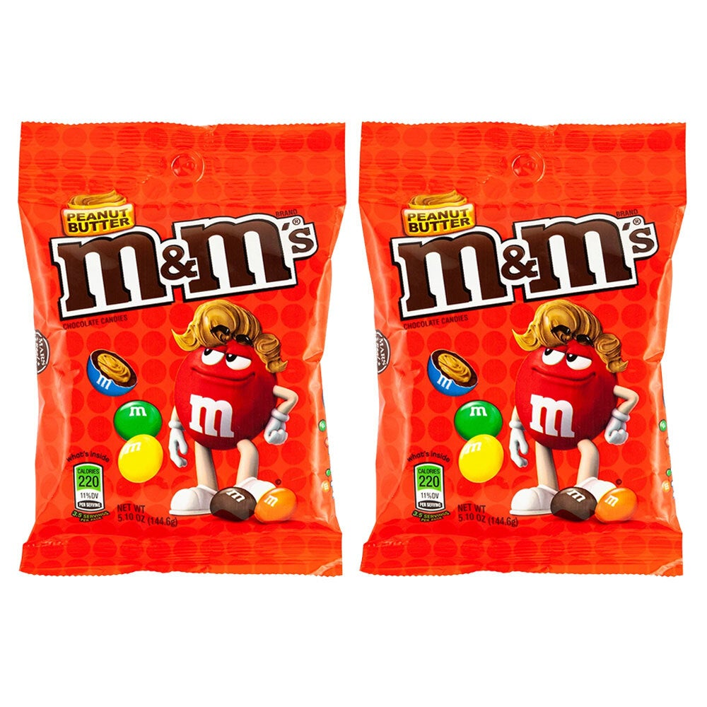 2x M&M's 144g Peanut Butter Candy Coated Chocolate Sweets/Crunchy Candies Pack