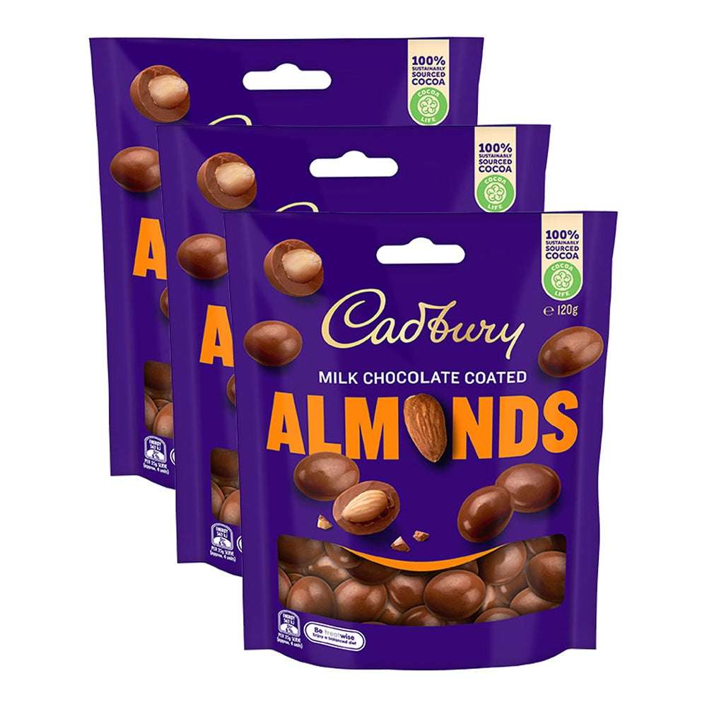 3x Cadbury 120g Scorched Milk Chocolate Coated Almonds Choco Confectionery Sweet
