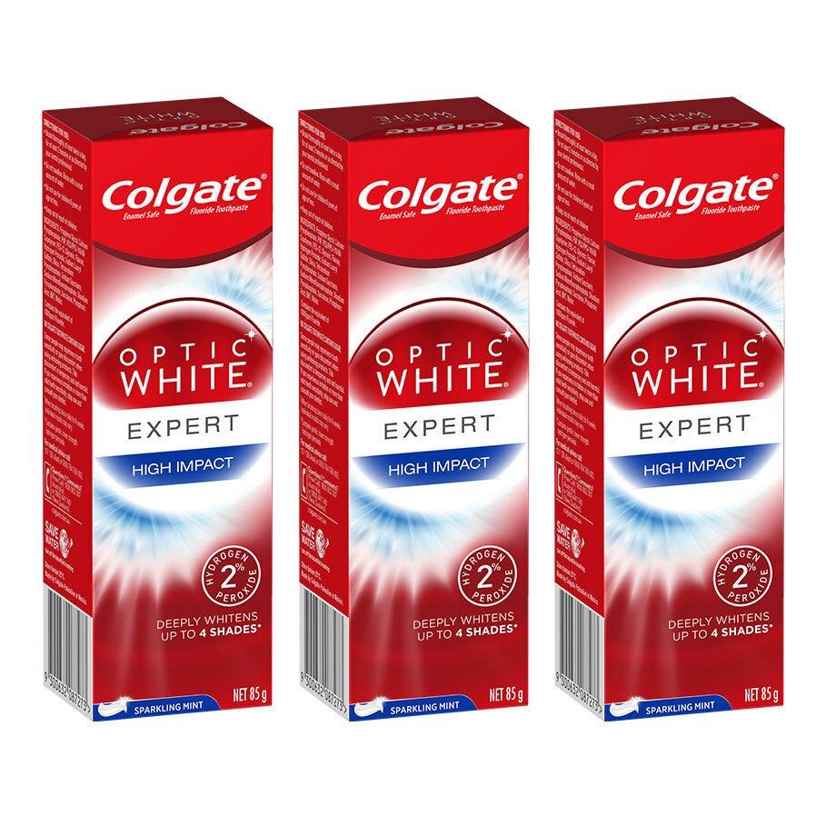 3x Colgate Optic High Impact White 85g Whitening Toothpaste w/hydrogen peroxide