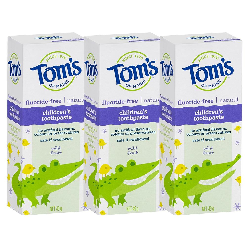 3x Tom's Of Maine 49g Fluoride/SLS Free Natural Children's Toothpaste Mild Fruit