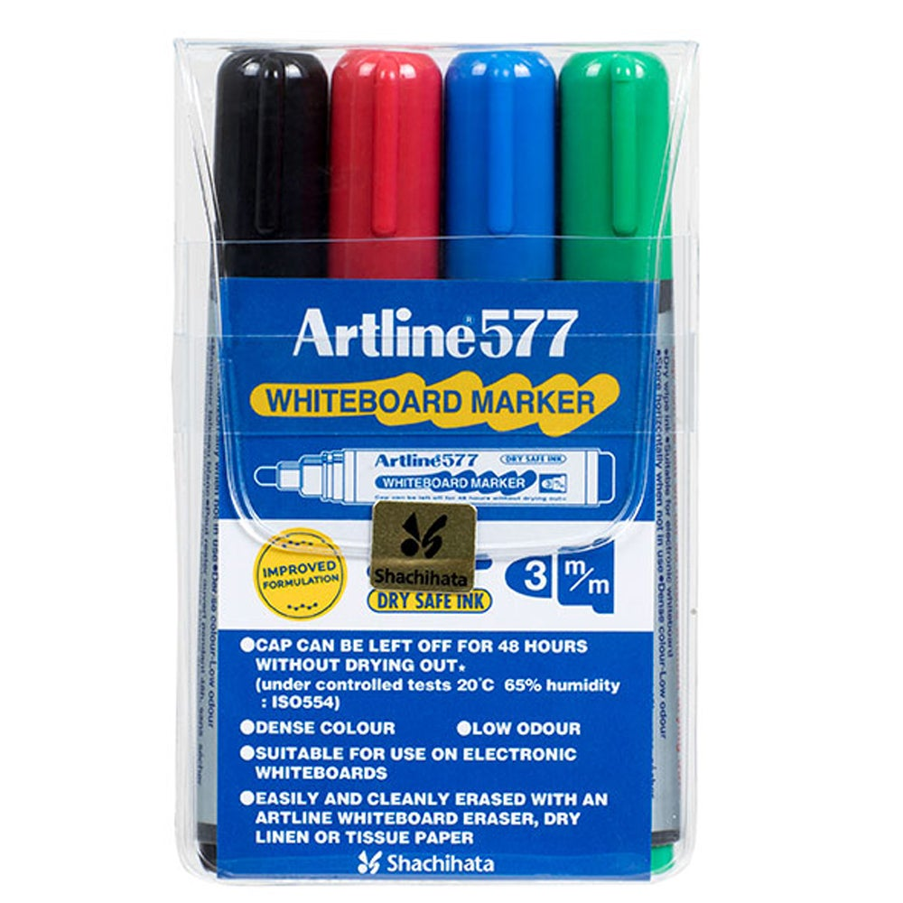 4pc Artline 577 5mm Bullet Nib Office Whiteboard Marker Assorted Colours Wallet