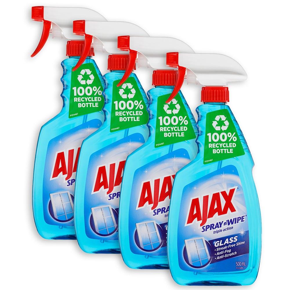 4x Ajax Spray nWipe 500ml Streak Free Glass Shine Cleaner for Window/Door/Mirror