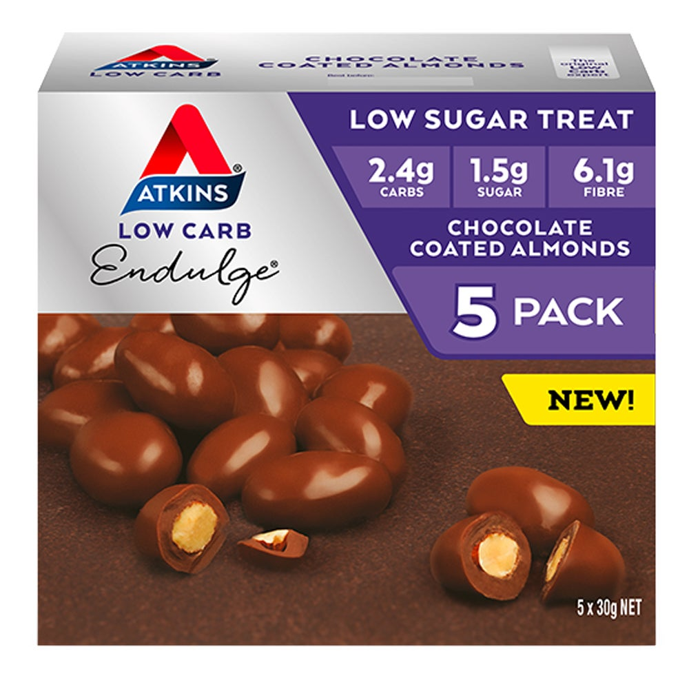 5pc Atkins Low Carb/Sugar 50g Endulge Healthy Snacks Chocolate Coated Almonds