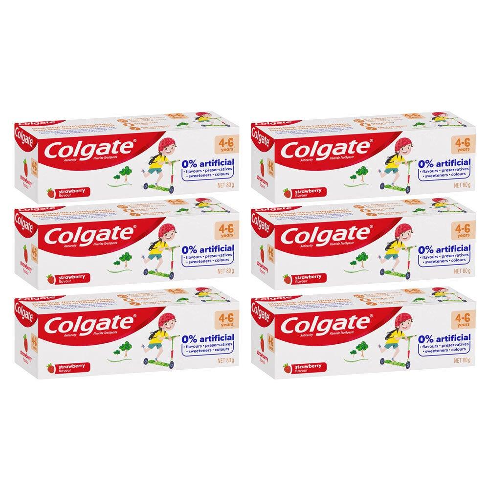 6x Colgate 80g Anti-Cavity Fluoride Kids/Children 4-6 Year Toothpaste Strawberry