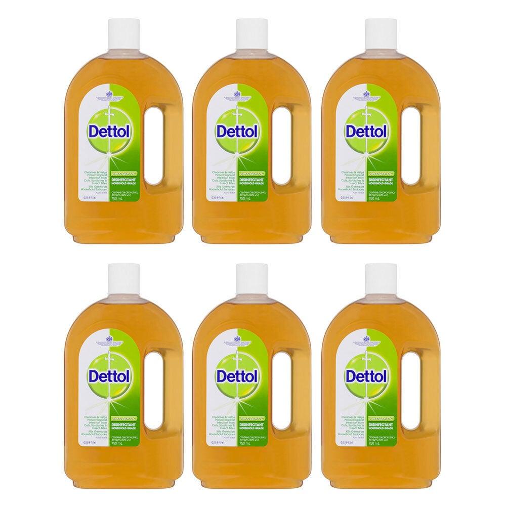 6x Dettol 750ml Antiseptic Surface Disinfectant/Cleaning Deodoriser/Sanitiser