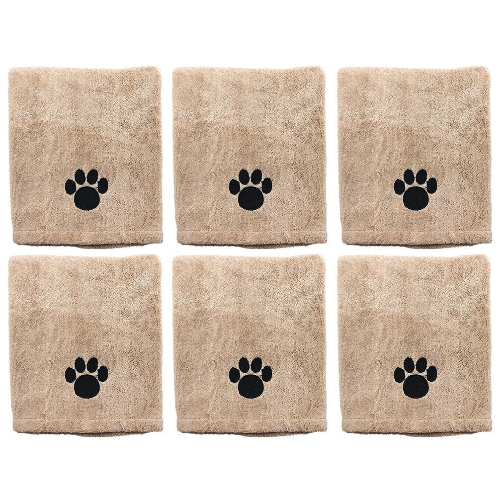 6x Paws & Claws 60x90cm Microfiber Drying Soft Towel Dogs/Cats/Pets Grooming BRN