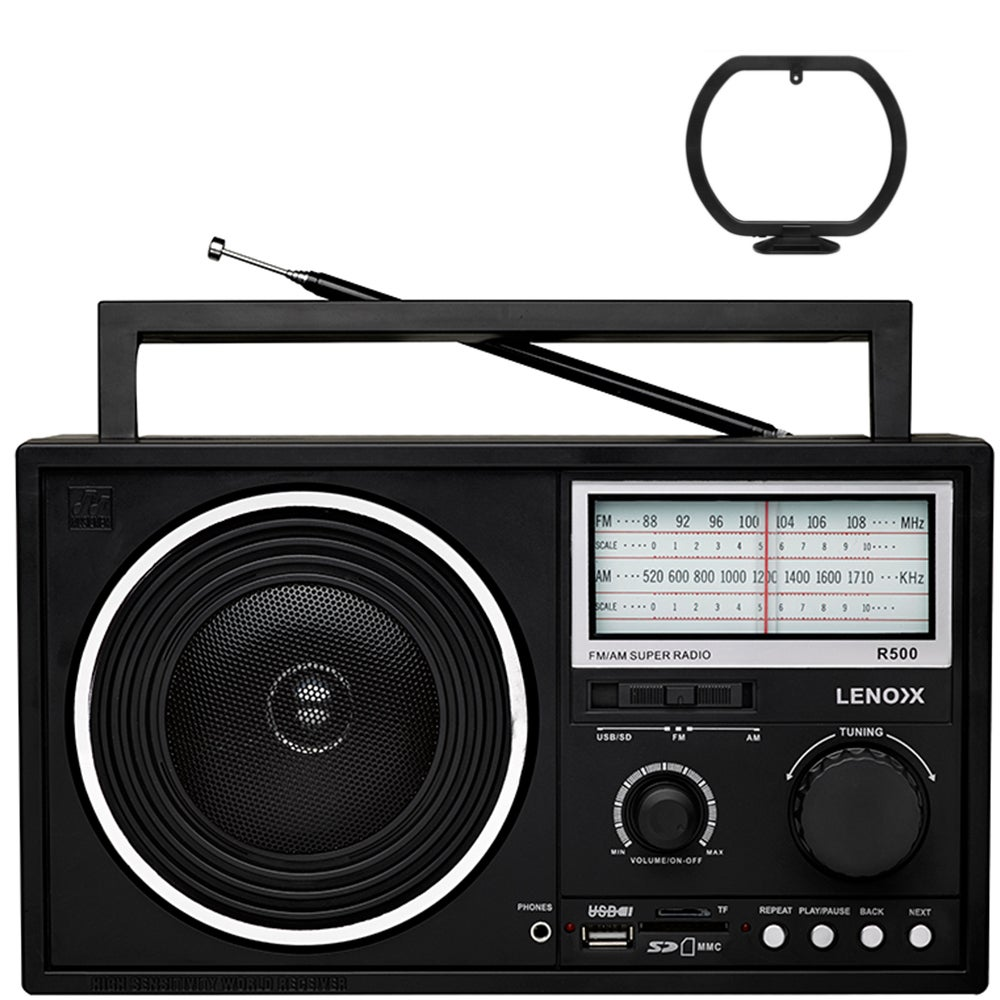 Lenoxx Portable AM/FM Speaker Radio/USB/Micro SD/MMC/Card Port MP3 WMA Player BK