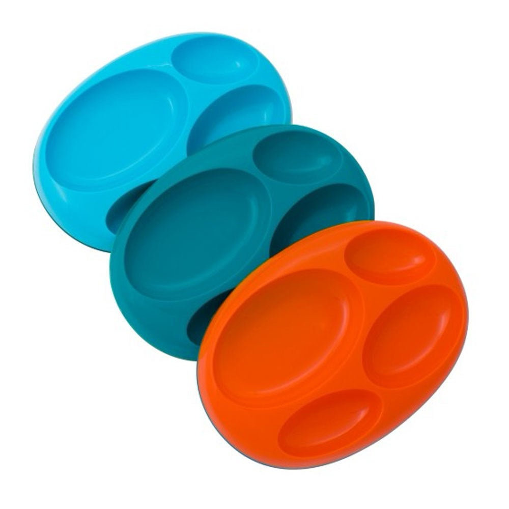 Boon 3pk Platter Large Divided Plate for Kids/Baby/Toddler Food Dish Tray
