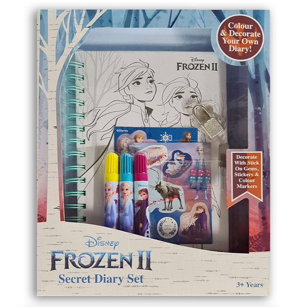 Disney Frozen 2 Lockable Girls Diary Secret Journal w/ Markers/Stickers/Gem 3y+