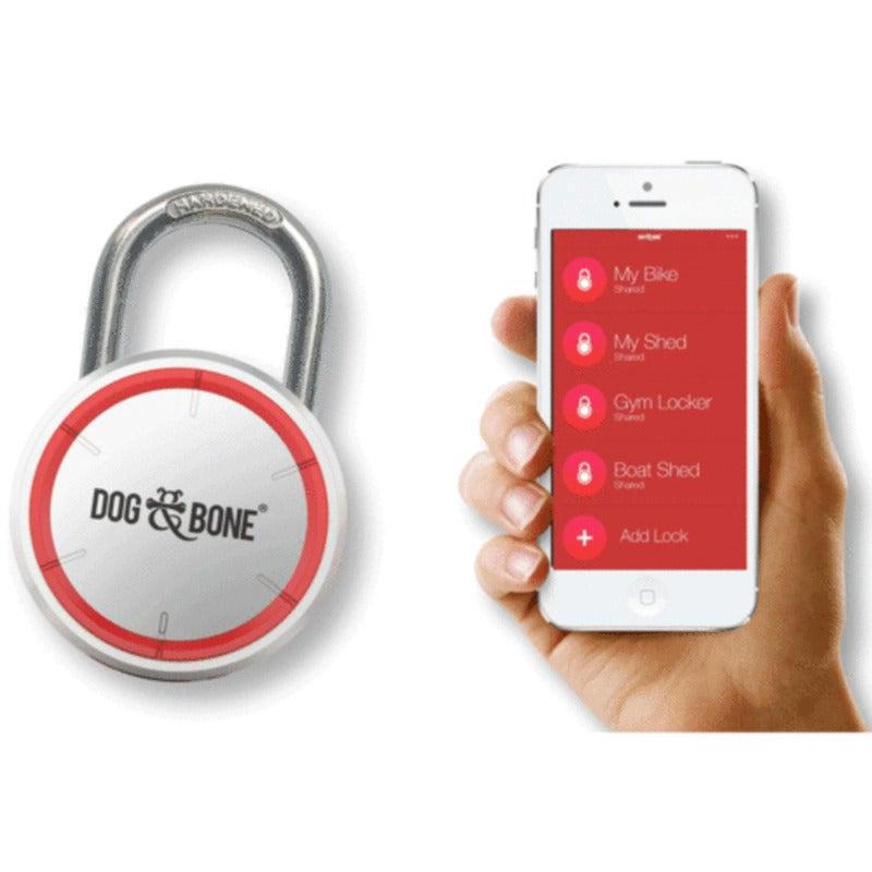 Dog and Bone Locksmart Keyless Padlock Bluetooth Lock for iPhone/Samsung Silver