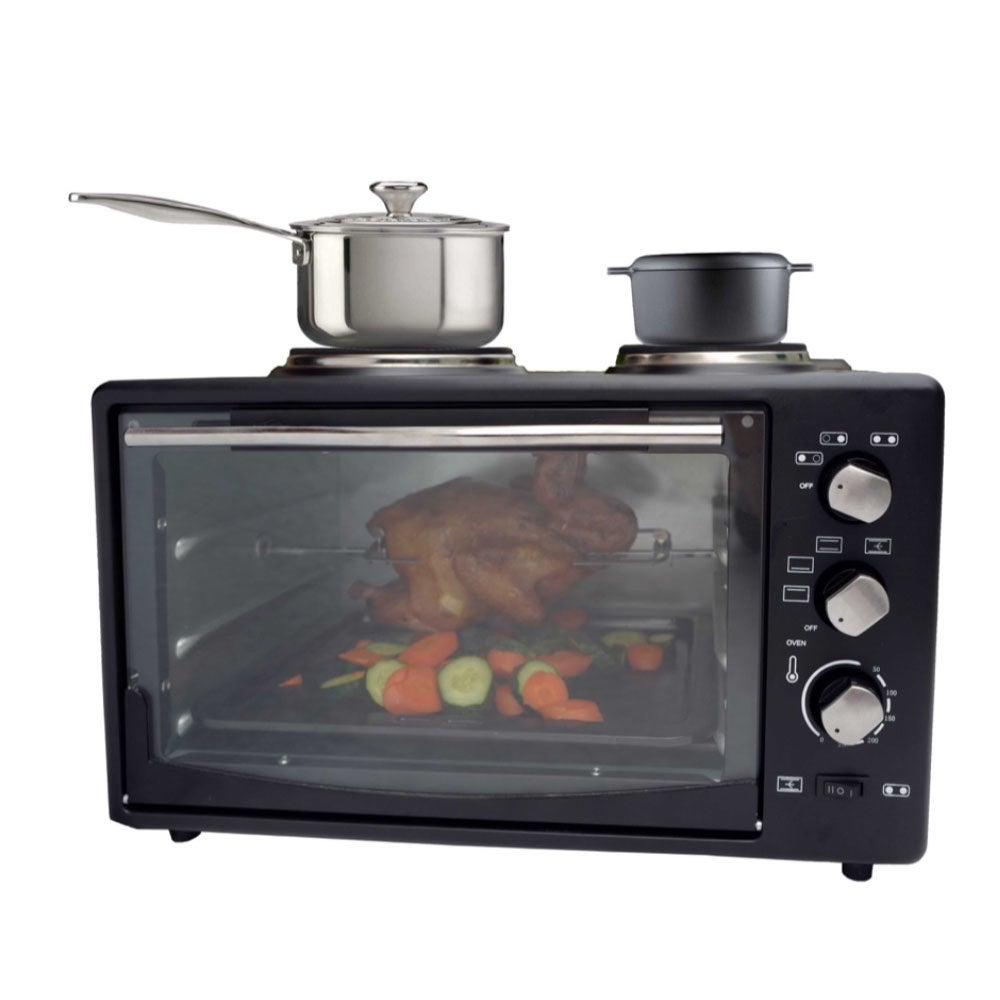 34L 1700W Portable Electric Rotisserie Grill/Toaster Oven/Dual Cooktop/Hot Plate