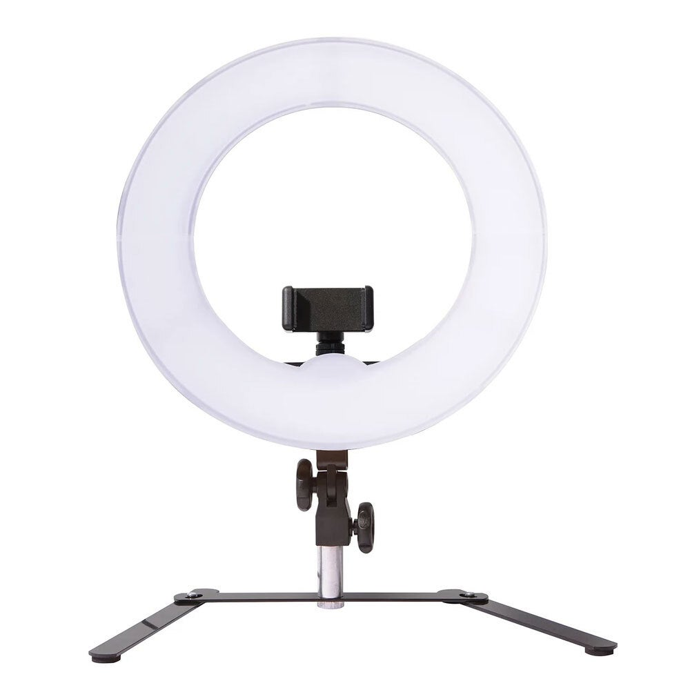 """Homedics 12"""" Portable Table Beauty Ring Light Selfie Lighting Stand w/Phone Clip"""