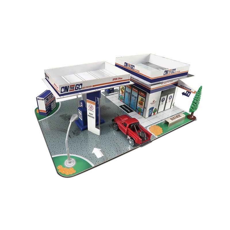 Maisto Fresh Build N Play Gas Station Kids Toy Pretend Playset w/ Model Ute 3y+