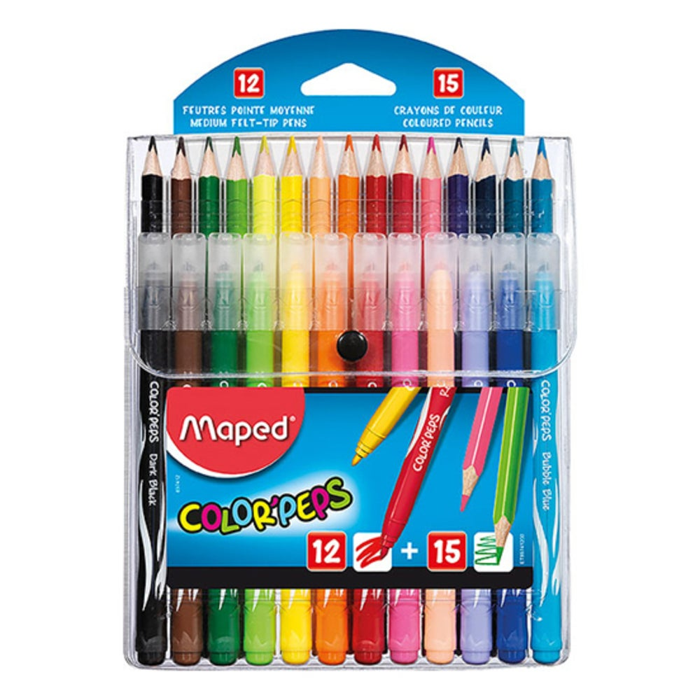 Maped ColorPeps Kids Multi Pack with 12 Colour Pencils & 15 Felt Tip Pens