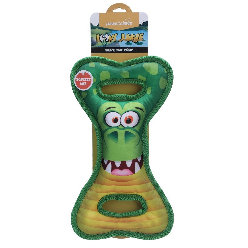 Paws And Claws 30cm Loony Jungle Tugger Oxford Pet Squeaker Toy Duke The Croc