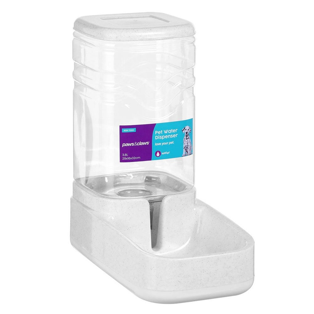 Paws & Claws 3.8L Plastic Pet Dog Drinking Bowl Water Dispenser Feeder Assorted