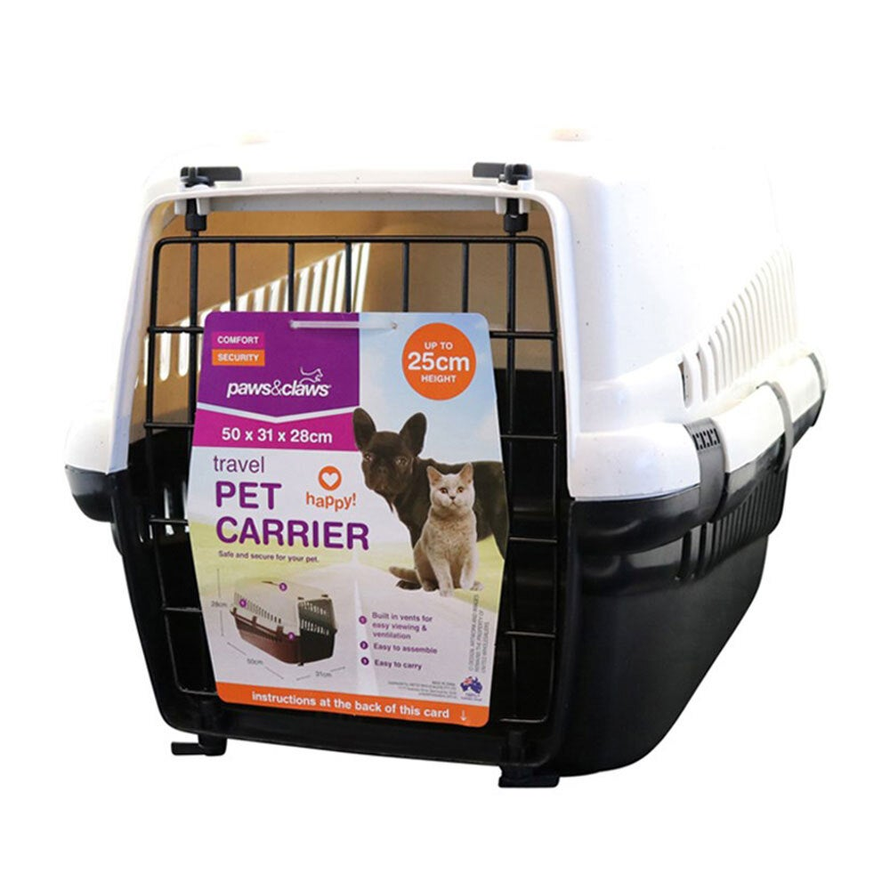 Paws & Claws Small 50cm Dog/Cat/Pet Carrier/Hard-Sided Travel Crate Black/White