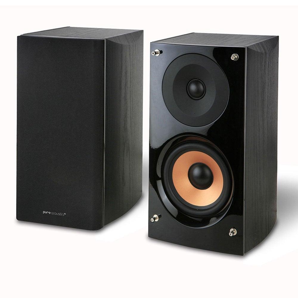 Pure Acoustics 140W Supernova Rear Bookshelf Speaker Pair for Home Theatre Black