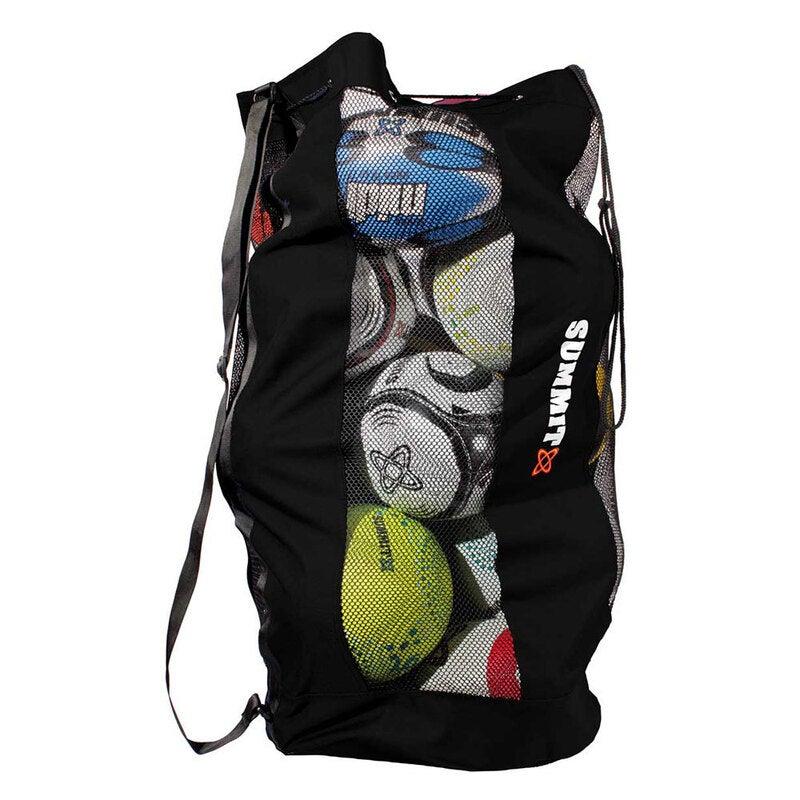Summit Durable Mesh Ball Bag/Shoulder Strap/Base for Soccer/Football/Rugby/Sport
