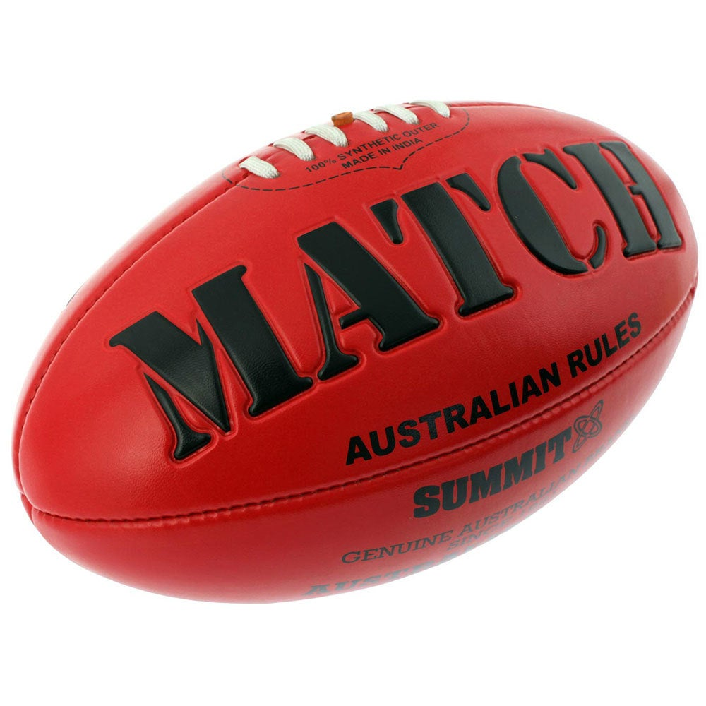Match AFL Ball Embossed Red Australian Rules Football Game Size