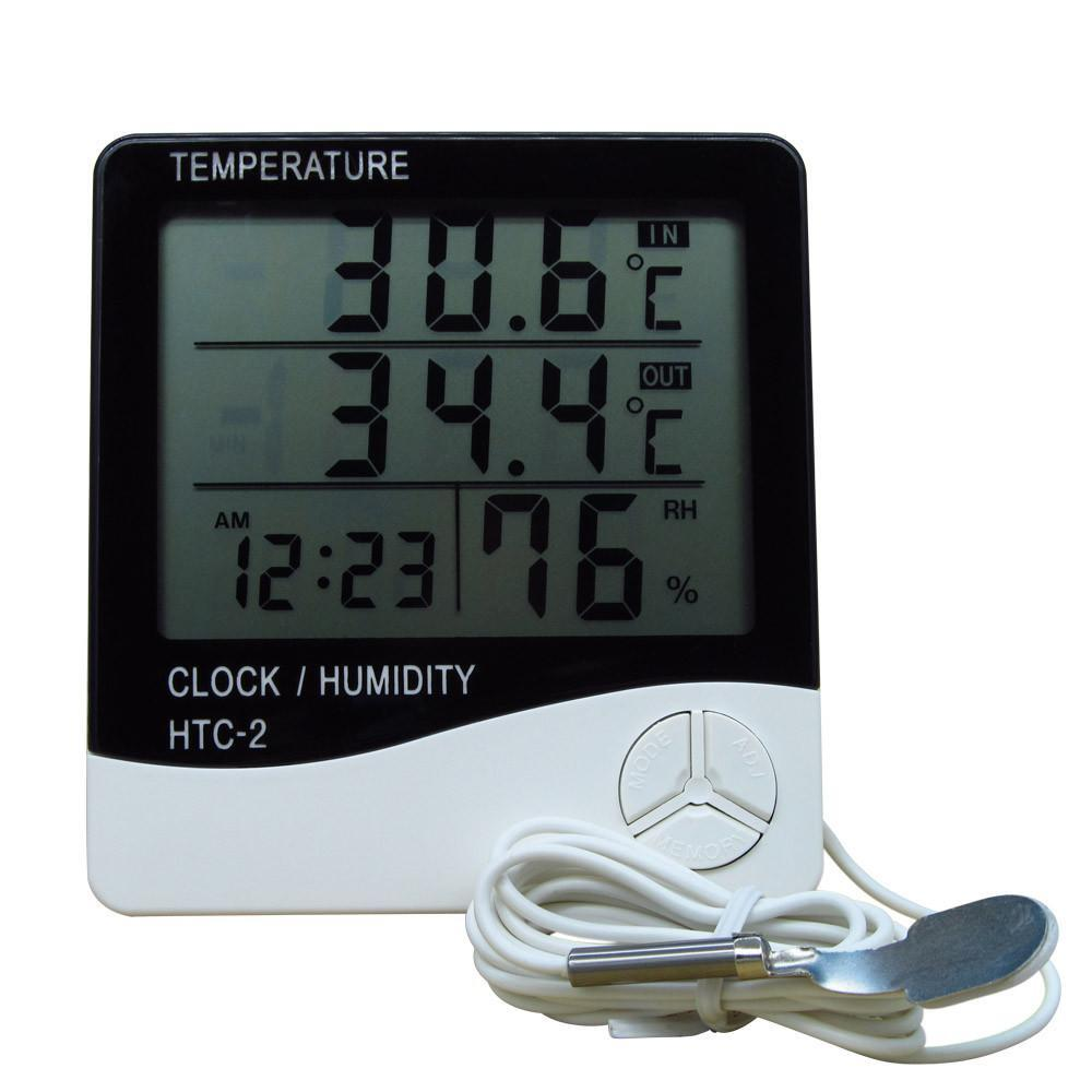 Thermo-Hygro HTC-2 105mm Meter Digital Thermometer Hygrometer w/ Probe White
